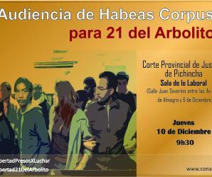 Atención: Jueves 10 de diciembre audiencia de Habeas Corpus para los 21 del Arbolito