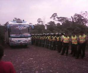 Rechazo presencia de Policías y Militares en la via Macuma- Taisha: Morona Santiago