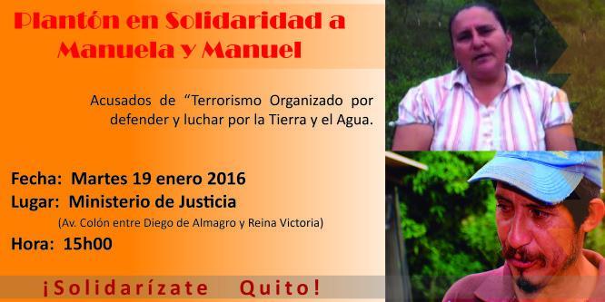 Quito: Plantón en solidaridad con Manuela y Manuel
