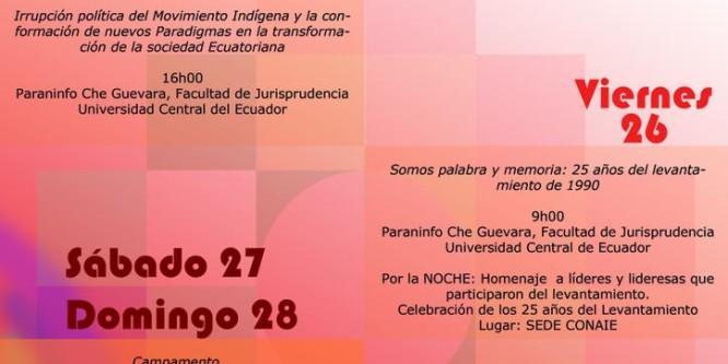 Jornadas de Conmemoración-25 años levantamiento indígena del Inti Raymi 1990