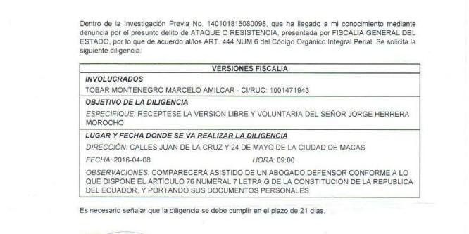 Dirigentes de CONAIE llamados a la Fiscalía  de Morona Santiago por supuesto delito de Ataque o Resistencia