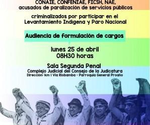Dirigentes nacionales, amazónicos y bases de pueblos y nacionalidades indígenas judicializados por resistir