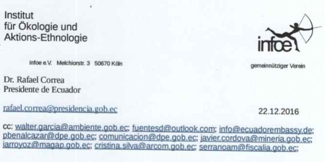 Desde Alemania se envia carta abierta al gobierno ecuatoriano por conflicto en Nankints