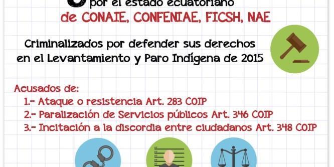 ¡ALERTA! 8 dirigentes indígenas podrían ser encarcelados por el Estado ecuatoriano