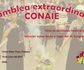 La CONAIE realizará Asamblea extraordinaria este 10 de Junio