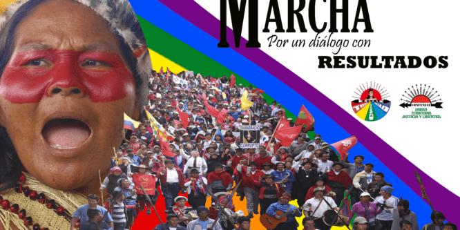 Marcha por un diálogo con resultados sale desde unión base, Puyo rumbo a Quito