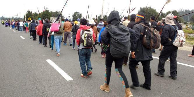 Marcha iniciada en Unión Base, Puyo para exigir cumplimiento de demandas, es agenda de CONAIE y sus bases
