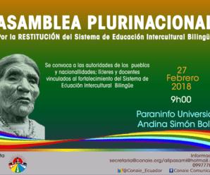 CONAIE realizará Asamblea Plurinacional por la restitución de la Educación Bilingüe