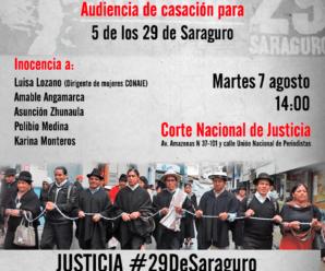 Audiencia de casación contra 5 de los 29 de Saraguro