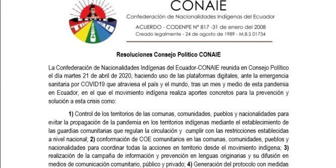 Resoluciones Consejo Político CONAIE